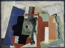 Pablo_Picasso_1916_Still-life_with_Door_Guitar_and_Bottles_oil_on_canvas_152.4_×_205.7_cm_Statens_Museum_for_Kunst_Copenhagen